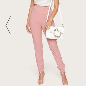Bebe NWT classy dusty pink satin crepe joggers SM